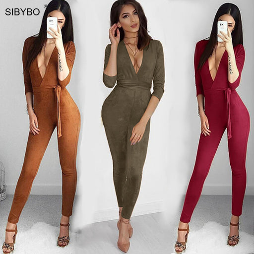 7f5e6396bddc Suede Bodycon Bandage Jumpsuit Women 2018 Deep V Neck Autumn Winter Rompers  Overalls Sexy Bodysuit Slim