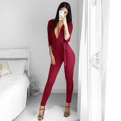 Suede Bodycon Bandage Jumpsuit Women 2018 Deep V Neck  Autumn Winter Rompers Overalls Sexy Bodysuit Slim Club Party Jumpsuits
