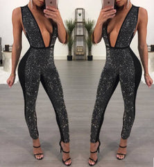 Sibybo Handmade Rhinestone Deep V Neck Long Jumpsuit Women Autumn Winter Sexy Slim Bocycon Playsuit Femal Party Club Overalls
