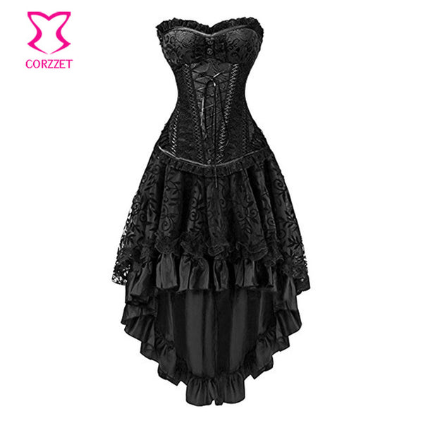 ... Red   Black Sexy Corsets And Bustiers Burlesque Skirt Gothic Corset  Party Dress Steampunk Clothing Victorian ... e46aa444537a