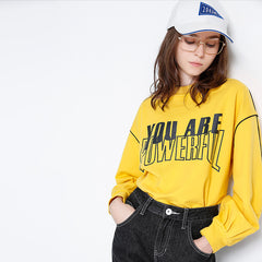 Toyouth Women Sweatshirts 2018 Spring New Arrivals O Neck Cotton Printing Letters Loose Pullovers Casual Sweatshirt