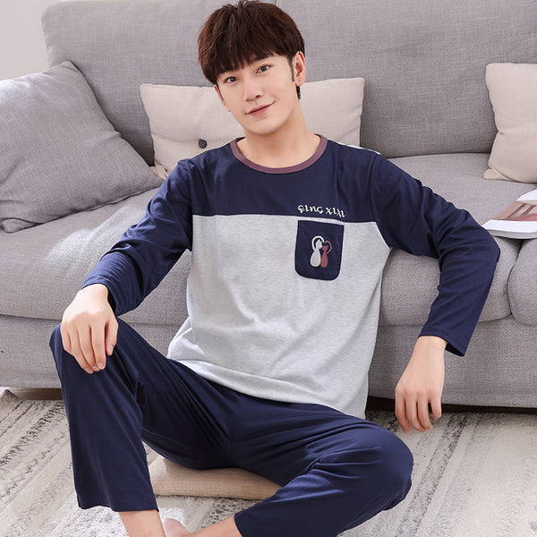 Men pajamas A84 thick men long sleeves cotton cardigan pajamas