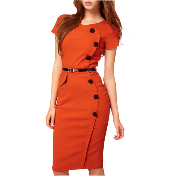 High Street Vestidos Gown V-Neck Knee-Length Button Women Work Wear Office Dress Bandage Casual Pencil Party Dresses