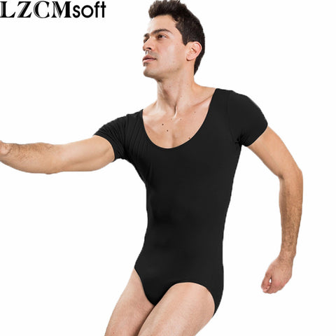 396229ba82 LZCMsoft Mens Short Sleeve Leotard One Piece Bodysuits For Male Dancers And  Gymnasts Spandex Black Ballet