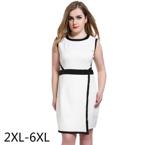 Pencil Work Dresses Women Plus Size Black White Dress Summer Vestidos 2016  6XL Patchwork Elegant Sleeveless Work Dress Ukraine