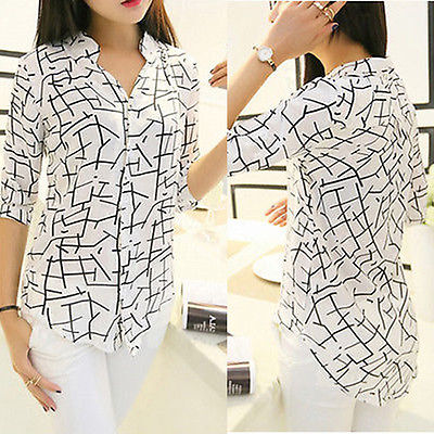 New Fashion Women's Chiffon 3/4 Sleeve Loose Tops Blouse Summer Casual Shirts