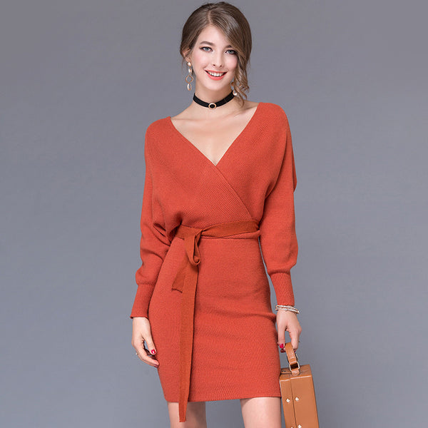 987da6f9b8a 2018 Fashion Cashmere Women Autumn Winter Mini Dresses Solid V-Neck Long  Batwing Sleeve Elegant Knitted Sweater Dress With Belt