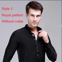 Hot Sale New 2017 Plus Size Black Waltz Latin Dance Top Men Latin Dance Shirts Men Ballroom Dance Shirt