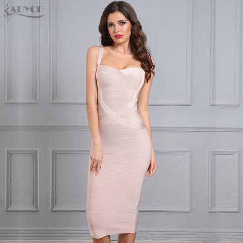 5558156f9e13 2018 New Woman Bandage Dress Bodycon Party Dress Red Black Blue White Pink  Yellow Sexy Celebrity