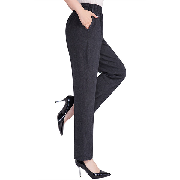 2017 New High Stretch Women Pants Cotton Ladies Pencil Pants High Waist Trousers Pantalon Femme Plus Size 5XL Loose solid color