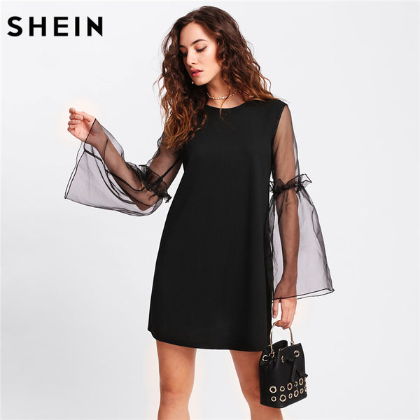 4a28f80ca5d0 SHEIN Shift Dress Women Contrast Mesh Sleeve Frilled Detail Tunic Dres