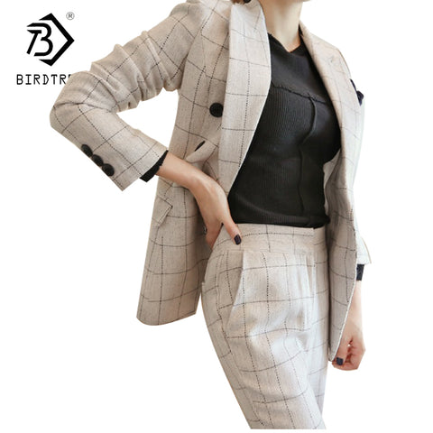 Work Office Pants and Jackets 2 Pieces Women Blazer Suit 2018 Autumn Vintage White Plaid Business Formal Suits For Women S7D332L