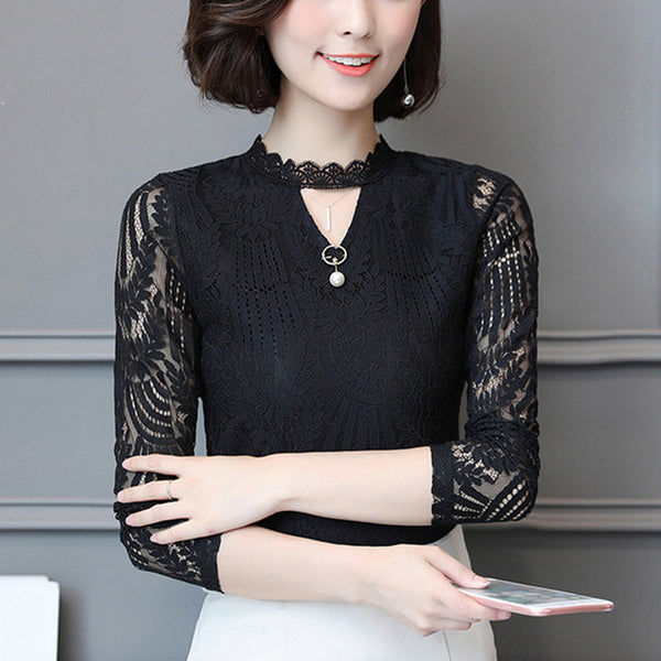 New Women Lace Blouse Long Sleeve Fashion Blouses And Shirts Hollow Out Crochet Blusas Casual Female Clothing Plus Size Femme Women's Clothing