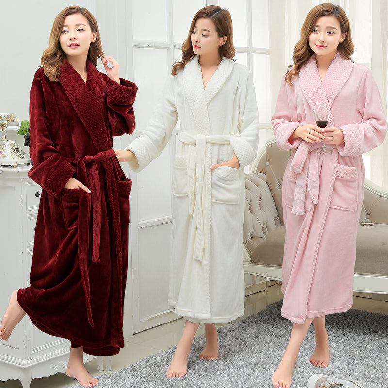 ... Robes Dressing Gown. Product Image Women Men Winter Thick Warm Long Bathrobe  Plus Size Coral Fleece Very ... f90923c33