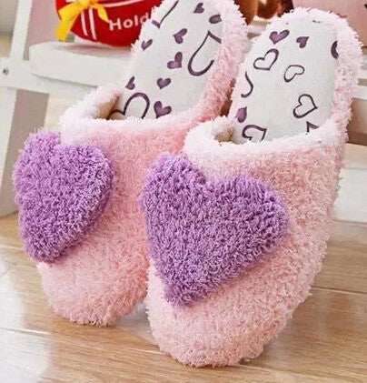 Hot sale Winter warm ultra soft slippery floor shoes lady's cotton tow peach heart cotton slippers