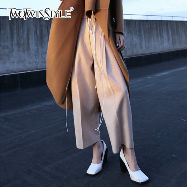 TWOTWINSTYLE Woolen Wide Leg Pant For Women High Waist Zipper Loose Large Size Pocket Long Trouser Winter Female Vintage Clothes