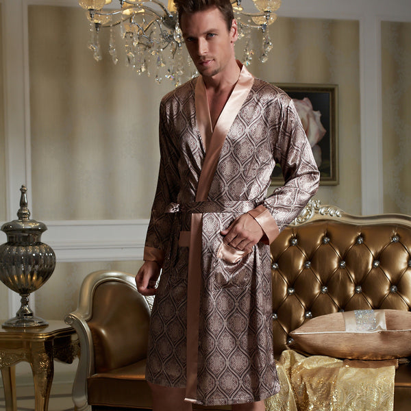 82a35a7281 ... Nightgown Women  Product Image Xifenni Robes Men Softness Satin Silk  Sleepwear Male Geomtric Pattern Bathrobes Long-Sleeve ...