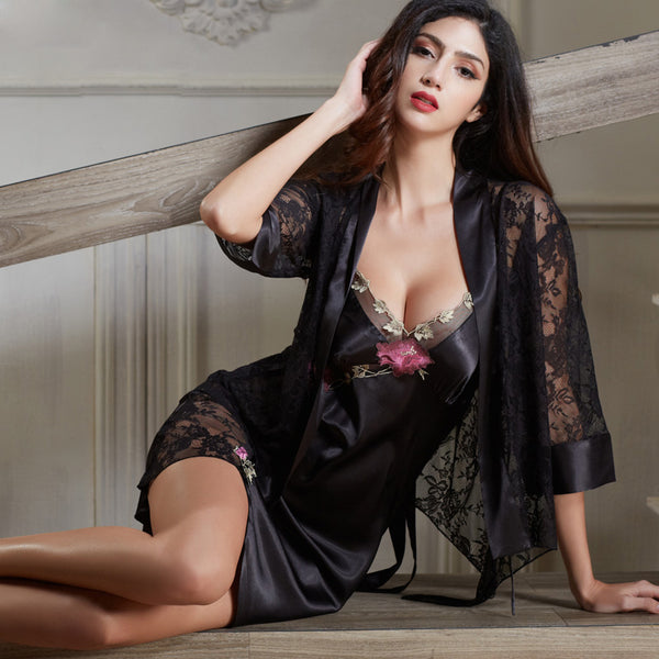 a10d96ab1af36f Xifenni Robe Sets Female Satin Silk Sleepwear Women Sexy Black Lace Em