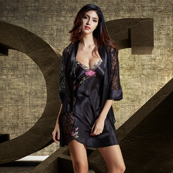 053e8744b4 ... Xifenni Robe Sets Female Satin Silk Sleepwear Women Sexy Black Lace  Embroidery Two-Piece V ...