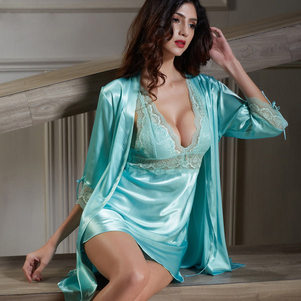 fff90e6e4b Xifenni Robe Sets Female Softness Satin Silk Sleepwear Women Sexy Lace