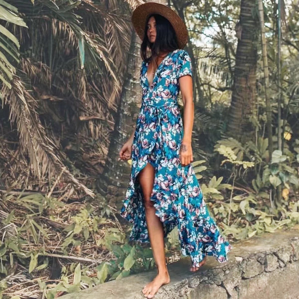 Maxi irregular boho Dress summer floral print sexy v-Neck butterfly hem Dresses holiday Bohemia long women dress 2018 vestido