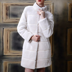 S-4XL Womens Fur Coat Fake Fur Coats Winter Plus Size Mandarin Collar Vintage Artificial Mink Black White Faux long jacket wear