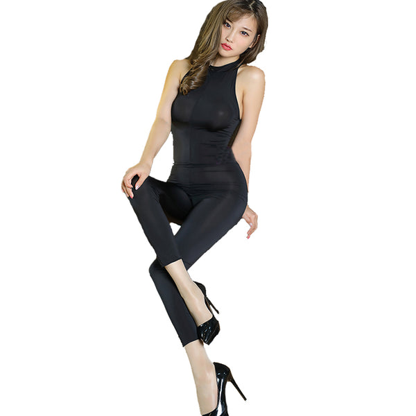 Sexy Women Zipper Open Crotch Bodysuit Ice Silk Smooth Transparent Turtleneck Body Stockings Club Wear Sexy Lingerie F30