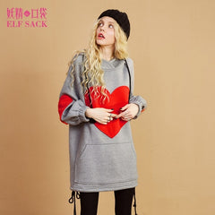 Loose ins Harajuku Hooded  Women Sweatshirts Winter Thick Heart Appliques Long Swaetshirts Womens Pullovers