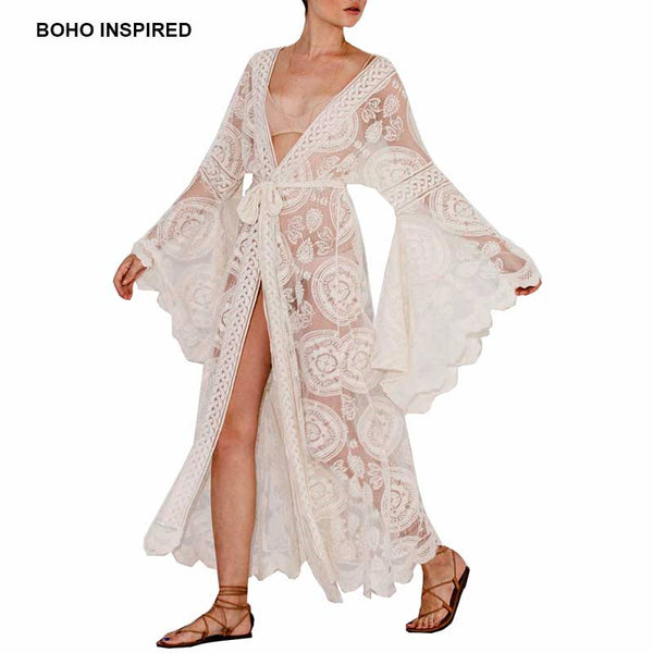 3f8c06a75e7 Boho Inspired floral print bell sleeve lace maxi wrap summer tunic dre
