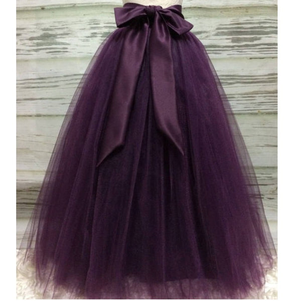 decb2a01 Puffy Dark Purple Long Tulle Skirts For Women With Riffon Sash Puffy T