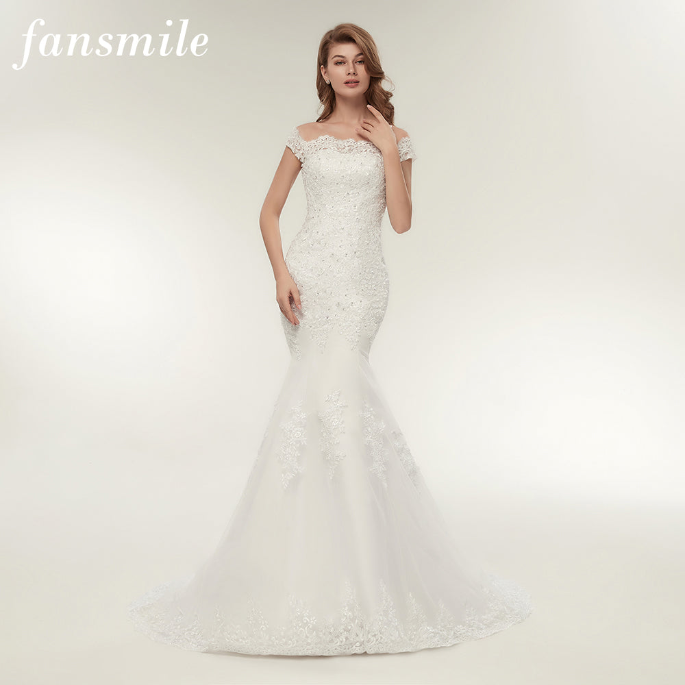 Fansmile Real Photo Vestidos de Novia Vintage Lace Mermaid Wedding Dress  2017 Plus Size Bridal Gowns Robe de Mariage FSM-165M