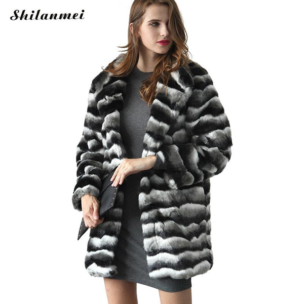 New Medium Long Fake Rabbit Fur Jacket Women Winter Faux Fox Fur Coat Elegant Warm Artifical Striped Fur Coats Female Plus Size