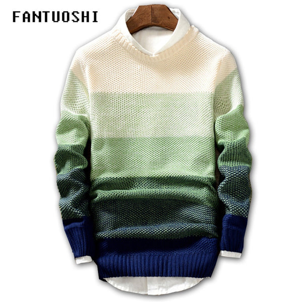 2018 New Spring and Autumn Fashion Casual Sweater O-Neck Slim Fit Knit 0d7aa1b25