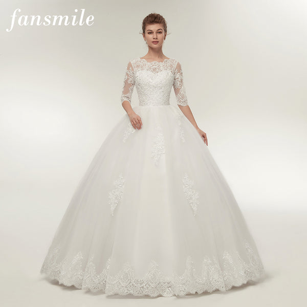 Fansmile Real Photo Vintage Lace Up Ball Wedding Dresses 2017 Customized  Plus Size Bridal Wedding Gowns Free Shipping FSM-145F