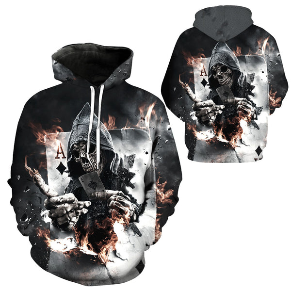 NEW 3D Hoodies Men Hooded Sweatshirts Skull Poker 3D Print Casual Pullovers Streetwear Tops Autumn Regular Hipster