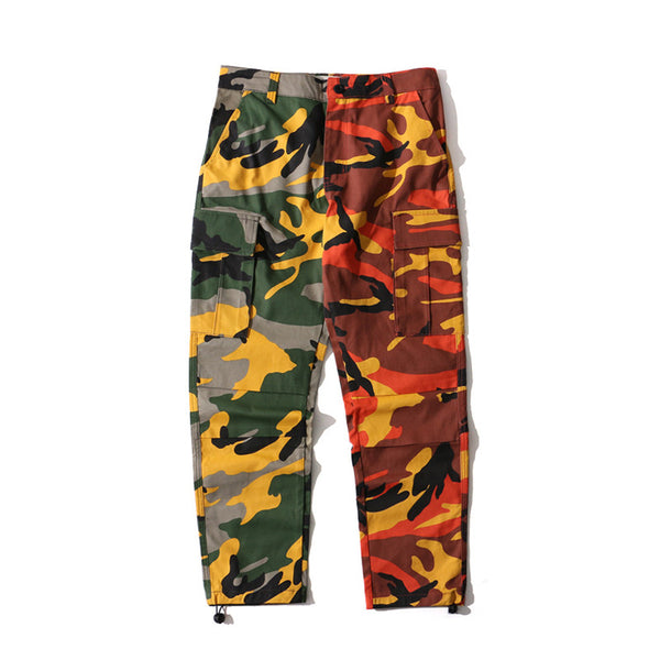 57a8626af8f52 Pink and Orange Camo Pant With Pockets Fashion Women Camouflage Pant H