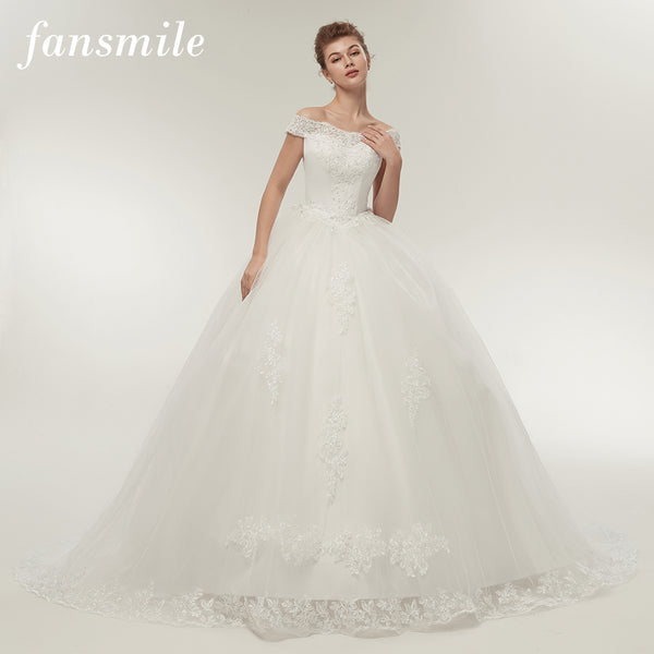 a4f02dff15 Fansmile Free Shipping Vintage White Long Train Wedding Dresses 2017  Vestidos de Noivas Plus Size Bling Bridal Gowns FSM-121T