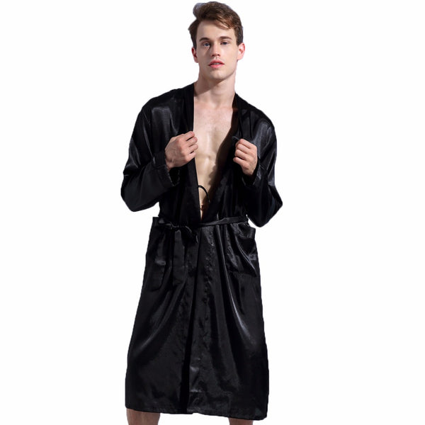 Black New Loose Casual Men s Rayon Satin Robe Gown Solid Color Kimono aef22b7b5