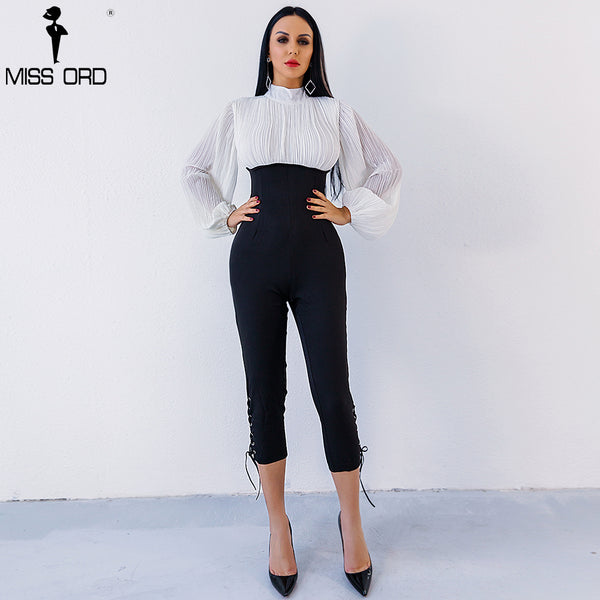 Missord 2018 Sexy high-necked long sleeve folds Drawstring jumpsuit FT4902