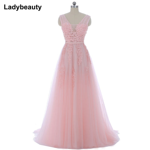 4717380ef5 Vestido de festa New Coming Robe De Soiree V Neck with Lace Appliques Long  Tulle Party