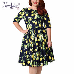 Nemidor Women 1950s Vintage Half Sleeve Plus Size 8XL 9XL A-line Print Dress Sexy V-low Back Cocktail Midi Casual Swing Dress