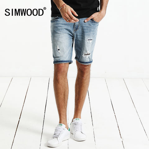 SIMWOOD 2018 Summer New  Denim Shorts Men Fashion Hole Ripped Jeans Slim Fit Brand Clothing ND017006