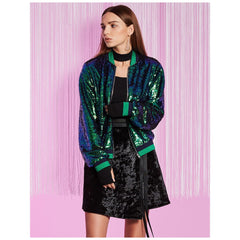 Avocado Green Full Sleeves Peter Pan Collar Sequined Bomber Jacket