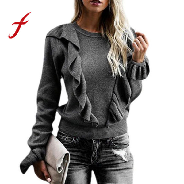 Feitong Winter Warm Women Ruffles Sweater Causal Long Sleeve Loose Knitted Sweater Jumper Knitwear Pollover Tops pull femme 2018