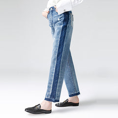 Toyouth 2018 Spring Women Jeans Loose Straight Mid Waist Washed Ripped Jeans Letters Printing Moustache Effect Full Length Jeans