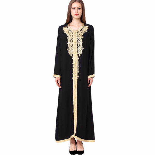 Women Maxi Long sleeve long vintage Dress Plus size embroidery moroccan Kaftan Islamic clothing Muslim dress floor length gown