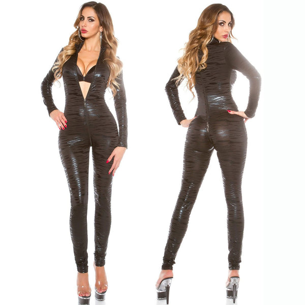 Sexy Women Two Way Zipper Open Crotch Tiger Stripe Shiny Faux Leather Full Bodysuit Pole Dance Elastic Bodysuit Club Wear F45