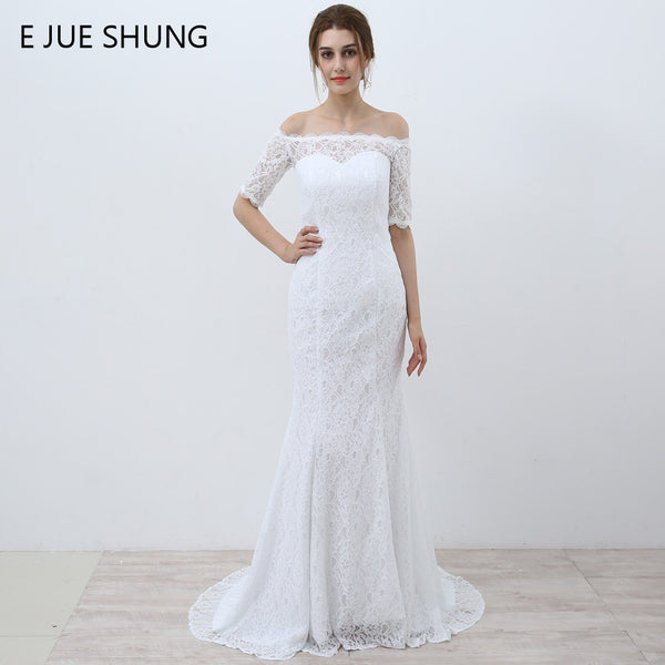 E JUE SHUNG White Vintage Lace Cheap Mermaid Wedding Dresses Off the S