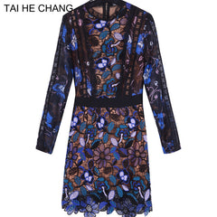 high-quality autumn  Women dress fashion runway vintage mini long sleeve lace sexy vestidos bodycon slim dress summer