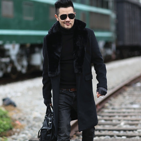 2017 Men new winter black woolen fur collar long coat European style metrosexual man brand design warm stretch outwear slim coat